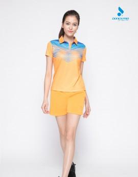 Áo thể thao nữ AC-3398 - Vàng cam phối xanh copan