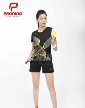 Áo thể thao nữ AC-3615-08-06 Đen phối vàng
