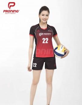 Bộ thể thao nữ ACB-5151-18-07 Đen phối đỏ