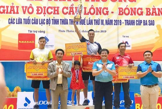 Bế mạc Giải vô địch Cầu lông, Bóng bàn Huế lần thứ IV